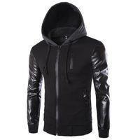 кожаные мужчины с капюшоном оптовых-Зима осень мужская куртка с капюшоном пальто мода шить кожаный рукав мужской молния повседневная пальто черный темно-серый M-2XL