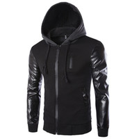 Wholesale men s leather overcoat - Winter Autumn Men 's Hooded Jacket Coat Fashion Stitching Leather Sleeve Male Zipper Casual Overcoat Black Dark Gray M-2XL