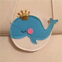 Wholesale Gilrs Bags - Non-woven crown blue whale shoulder bag Gilrs cute Satchel baby mini coin bag costume accessory props