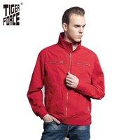 Wholesale Red Jacket Ship - Wholesale- TIGER FORCE 2017 Men Fashion Casual Jacket Spring Autumn Coat Red Short Jacket Hot Sale European Size Free Shipping 31369