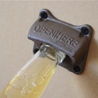 Wholesale metal craft wine - Beer Bottle Opener Creative Wall Hanging Type Vintage Cast Iron Open Here Corkscrew Bar Tool Metal Craft 3 5rj F R