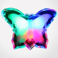 Wholesale Butterfly Light Bulb - Butterfly Night Light Energy Saving Lovely Color RGB Romantic Wall Light Night Lamp Decoration Bulb For Baby Bedroom EU Plug