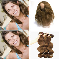 Wholesale chestnut brown hair weave for sale - Indian Body Wave Virgin Hair Color Medium Brown Human Hair Weaves Bundles With Lace Frontal Closure Chestnut Brown Hair Extensions