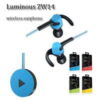 bluetooth luminoso al por mayor-Zw14 Auricular luminoso Luz LED Auriculares deportivos Bluetooth inalámbrico Gancho para la oreja Banda para el cuello en la oreja para el iphone x samsung s8 más nota 8