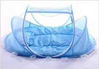Wholesale Outdoor Rod Set - New Baby Cribs 0-2 Years Baby Bed With Pillow Mat Set Portable Foldable Crib With Netting Newborn Cotton Sleep Travel Bed