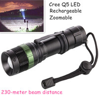 Wholesale Divers Flashlight Rechargeable - Portable Lighting Cree Q5 Mini LED Torches Zoomable Flashlights 3000lm 230 Meters Distance Emergency Lighting for Hiking Camping Fishing