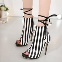 Wholesale Lace Up Womens Sexy Shoes - Autumn new Gladiator Roman Sandals Womens Sexy High Heels Open Toe Thin Heel PU stripe Short Boots Stilettos Nightclub Shoes