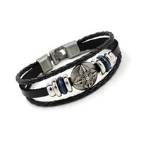 Wholesale Bracelets Jewerly Boxes - Leather Bracelets for Men New Alloy Punk Woven Hemp Genuine Leather Beaded Multiple layers Hand Jewerly