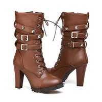 Wholesale ladies brown lace up boots online - Brand Ladies shoes Women boots High heels Platform Buckle Zipper Rivets Sapatos femininos Lace up Leather boots Size