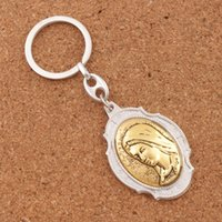 Wholesale Blessing Cross - 12pcs lot Blessed Virgin Mary Madonna 2 Inch Miraculous Medal Keychain with Prayer Travel Protection Key Ring K1743 12colors