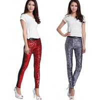 Trendy New Spring Autumn Mulheres Leggings Sequins Slim Sexy Leggings Faux Leather Patchwork Sexy Calças Ladies Calças