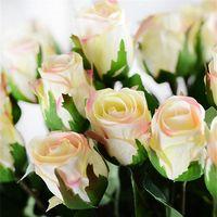 "Wholesale Silk Rosebuds - Silk Single Stem Rose 70cm 27.56"" Length Artificial Flowers Spring Rosebud Camellia for DIY Bridal Bouquet Wedding Centerpieces"