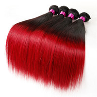 Wholesale Red Brown Hair Extensions - Ombre Malaysian Indian Peruvian Brazilian Virgin Hair Bundles Straight Hair Weaves Ombre Brown Blonde Red Burgundy Human Hair Extensions