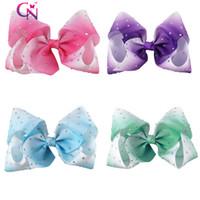 "Wholesale Diamante Diamond - 28 PCs lot 7 "" Diamante Hair Bow With Clip Diamond Hair Clip For Cute Girl Kids Jojo Bow"