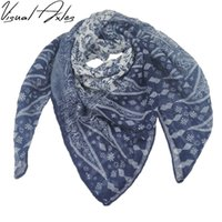 Wholesale Square Scarf Floral Print - 2017 New Fashion Women Customized Turkish Printed Navy Blue And White Floral Large 100% Viscose Square Scarf 100cm*100cm