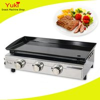 Wholesale restaurant machines - Counter Top Gas Griddle Restaurant Gas Griddle Machine Stainless Steel Body Ceramic Grill 3 Burner Griddle Plate