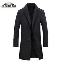 Wholesale Wool Jacket Warm Coat Men - Wholesale- 2016 New Winter Woolen Long Peacoat Men Slim Casual Overcoat Mens Warm Windbreaker Trench Coat Jackets hombre Plus Size M-5XL