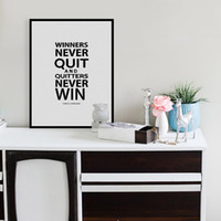 Wholesale Photo Win - Free shipping novelty gift Vince Lombardi Winners never quit,quitters never win words pattern home decorative hanging poster photo picture