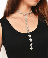 Wholesale Star Long Pendant - hot sale Fashion designer lady woman metal alloy luxury glittering rhinestone diamond crystal cute star long pendant choker necklace