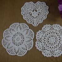 Wholesale Cotton Wallpaper - Wholesale- Handmade Crochet Doilies patterns heart Wallpaper Porcelain pad Vase cup mat cotton Doily coaster ,place mat 15PCS LOT