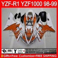 carenagem r1 laranja venda por atacado-8gifts gloss orange Corpo Para YAMAHA YZFR1 98 99 YZF1000 YZF-R1 98-99 90NO70 YZF 1000 YZF-1000 YZF R 1 YZF R1 1998 1999 laranja preto Carenagem
