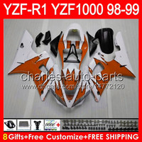 ingrosso arancione yzf r1-8gifts gloss orange Corpo per YAMAHA YZFR1 98 99 YZF1000 YZF-R1 98-99 90NO70 YZF 1000 YZF-1000 YZF R 1 YZF R1 1998 1999 arancione nero Carenatura