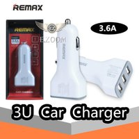 Wholesale Usb Adaptor Tablet - REMAX Full 3.6A 3 USB Fast Car Chargers Adaptor For IPhone 7 Plus Charger For Samsung IPad Tablet IPod With Retail Package