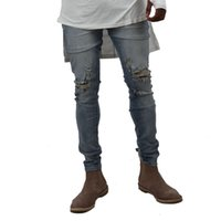 Wholesale Damaged Jeans - Wholesale-HEYGUYS 2016 fashion high street mens destroyed jeans hole casual pants ankle cool blue joggger damage jeans rock star jeans