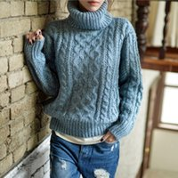 Wholesale Korean Orange Sweater - Wholesale- Oversized Sweater Pull Femme Turtleneck Ugly Christmas Sweaters Women 2016 Korean Winter Knitted Jumper Sueter Pullover Clothing