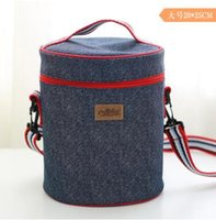 Wholesale Boys 6t Jeans - Portable Lunch Bag Zipper Oxford Jeans Blue Cooler Bag Thermal Insulation Bags Travel Picnic Food Lunch Bag for Women Girls Kids Handbags
