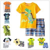Wholesale Dinosaur Pants - Kids cartoon animals pajamas 2pc set printing short sleeve top+plaids short pants boys girls dinosaur fish crab octopus pattern summer cloth