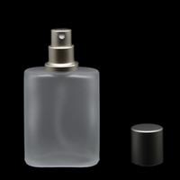 flache parfümflaschen großhandel-30ml Graue Kappe Flache Ausführung Mattiertes, halbtransparentes Glas Spray Parfümflasche Glas Zerstäuber Spray Mehrwegflaschen Leer