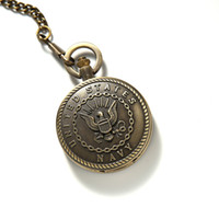 Wholesale American Pocket Watch - Europe fashion vintage Quartz watch student necklace Classic eagle more nostalgic tables Personality fashion pocket watch necklace
