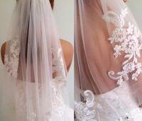 Wholesale Diamond Bead Ivory Wedding Veils - Short One Layer waist length beaded Diamond appliqued white or ivory wedding veil bridal veils