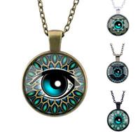 Wholesale Devil Eyes Pendant - Devil Eyes Necklace Turquoise Leaves Flower Timestone Pendant 4 Styles Silver Retro Bronze Black Chains Collection