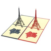 Wholesale Handmade Happiness Gift - Wholesale-Handmade Folk Art Gift Greeting CardsParis Eiffel Tower 3D Pop Up Happiness Ferris Wheel Festive Kirigami Origami Invitation