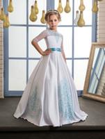 Wholesale Turquoise Children Dresses - long turquoise kids dresses for girls size 8 10 12 lace communion dress with beading sash graduation gown children