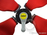 Wholesale Satefy Seat Belt - Free shipping Sabelt 5 Point Red Seat Belt   Harness Homologation   Racing Satefy universal fitment in stock ready to ship