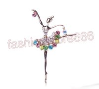 Wholesale Dancing Brooches Pin - Fashion Ballerina Ballet Dancer Girl Full Colourful Rhinestone dance girls Cute Angle Brooches and Pins Wholesale XZ0027