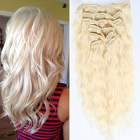 Beauty Hair Products 7Pieces / Set Clip In Hair Extensions Water Wave # 613 Bleach Blonde 70-220G Remy Cheveux 16-26 pouces En option