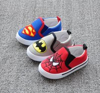 Wholesale Baby Boys Bottoms - Baby Girls First Walker Shoes Kids Boys Spider Man And Smiley Shoes Children Soft Bottom Anti-Slip Shoes Toddler Spring Footwear 1-4T