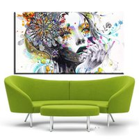 Wholesale digital art drawings - ZZ674 girl FLOWER Butterfly colour Cartoon Figure Painting Abstract drawing Spray Oil Painting Canvas Home decor Frameless art