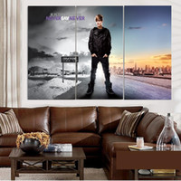 Wholesale Life Sayings - 3pcs set Unframed Justin Bieber Never Say Never Oil Painting On Canvas Giclee Wall Art Painting Art Picture For Home Decor