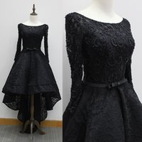 Wholesale Sequin Hi Lo Wedding Dress - Beaded Eveing Prom Bridesmaid Dresses Little Black Dress Ball Gown Beading Dress Hi Lo A ling Formal Gowns For Wedding Party Real Pictures