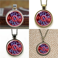 Wholesale Rock Roll Signed - 10pcs Rock & Roll Neon Sign Glass Photo Necklace keyring bookmark cufflink earring bracelet
