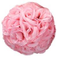 bolinhas de casamento de seda rosa venda por atacado-15 cm De Seda Artificial Rose Pomander Bolas Da Festa de Casamento Bouquet Decoração de Casa Ornamento Beijando Bola Hop