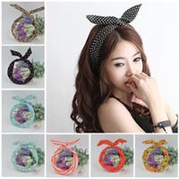 Wholesale Rabbit Ear Wire Headband - 1Pc Cute Leopard Dots lip print flower Bunny Rabbit Ear Ribbon Headwear Hairband Metal Wire Scarf Headband Hair Band Accessories