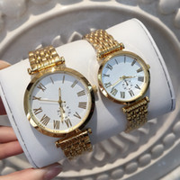 Wholesale Golden Fashion Watches For Men - Luxury Brand Famous Designer Man Women Watches New 2017 golden Metal Ladies Watches Fashion Dress Wrist Watches for lovers Free Shipping