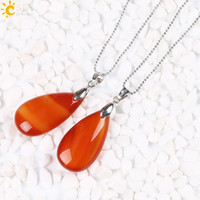 CSJA Charm 1Pc Dangle Natural Stone Red Agate Gemstone Jóias Water Drop Pendant Necklace Mulheres Summer Jewelry Gift Choice para homens E161 B
