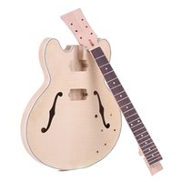 Wholesale Kit Guitar Hollow - Wholesale- New Arrival! Unfinished Electric Guitar DIY Kit Semi High Quality Hollow Basswood Body Rosewood Fingerboard Maple Neck